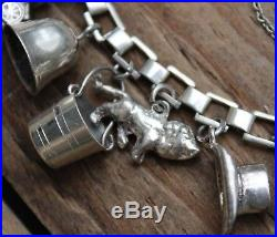 Vintage Silver Sterling 925 Charm Bracelet Bangle Old Jewellery Jewelry Ladies 2