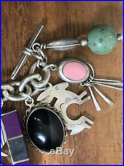 Vintage South West Turquoise Native Taxco STERLING SILVER Charm Bracelet 107+G