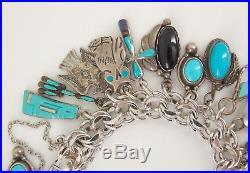 Vintage Southwestern Sterling Silver Turquoise Loaded Charm Bracelet 7 5/8 Long