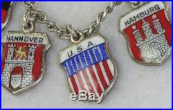 Vintage Sterling 800 Silver Enamel German Germany City Charm Bracelet