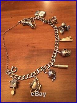 Vintage Sterling Silver 10 Charms Link Charm Bracelet Skull