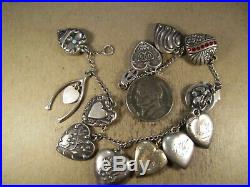Vintage Sterling Silver/10K Gold Puffy Heart 13 Charm Bracelet, 17.8g