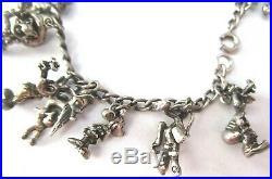 Vintage Sterling Silver 16 Disney Charm Bracelet RARE
