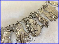 Vintage Sterling Silver 925 Cat 23 Charms Link Bracelet Very Unique
