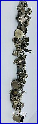 Vintage Sterling Silver (925) Charm Bracelet with 40 Charms