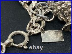 Vintage Sterling Silver 925 Loaded 22 Charm Bracelet 7