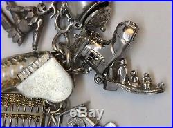Vintage Sterling Silver 925 Mechanical (33) Charm Bracelet 82+G Moveable 3D Opal