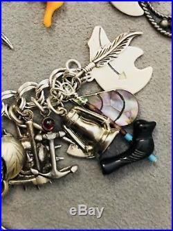 Vintage Sterling Silver 925 Southwest (54) Charm Bracelet Turquoise Native 86+G