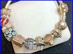 Vintage Sterling Silver Authentic Signed Pandora Charm Bracelet 12 Charms Ale