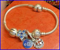 Vintage Sterling Silver Authentic Signed Pandora Charm Bracelet 5 Charms Ale