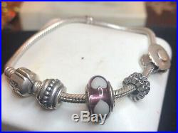 Vintage Sterling Silver Authentic Signed Pandora Charm Bracelet & Charms Ale