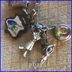 Vintage Sterling Silver Bracelet Loaded Charms