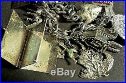 Vintage Sterling Silver Bracelet with 20 Charms, 81.7gr, 7.00, LOADED Movers