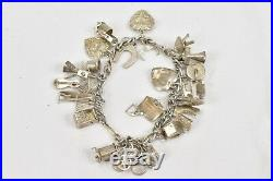 Vintage Sterling Silver Charm Bracelet 24 Charms Scale Wringer Horseshoe Mailbox