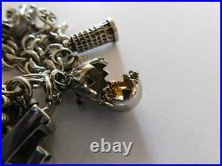 Vintage Sterling Silver Charm Bracelet 28 Charms 14 Mechanical JB 121grams VB