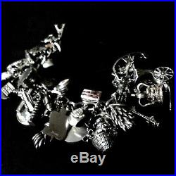 Vintage Sterling Silver Charm Bracelet 35 Charms 127gm Heirloom And Travel Theme