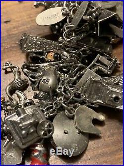 Vintage Sterling Silver Charm Bracelet 79 Charms, Movable
