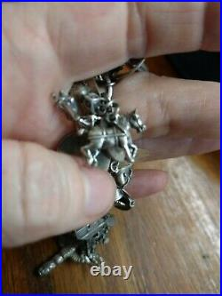 Vintage Sterling Silver Charm Bracelet Loaded with 35 Charms Travel ect