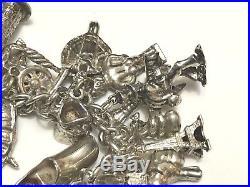 Vintage Sterling Silver Charm Bracelet Solid Silver Huge Amount of Charms