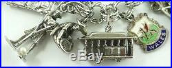 Vintage Sterling Silver Charm Bracelet with Safety Clasp & 26 Charms