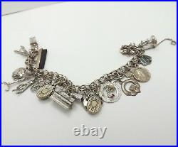 Vintage Sterling Silver Charm Bracelet with18 Travel Religious Hobbies Charms