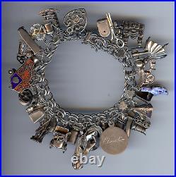Vintage Sterling Silver Double Hammered Link 35+ Charms Bracelet