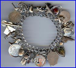 Vintage Sterling Silver Double Hammered Link Loaded 35 Charm Bracelet