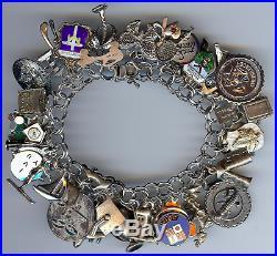 Vintage Sterling Silver Double Hammered Link Loaded 35+ Charm Bracelet