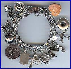Vintage Sterling Silver Double Hammered Link Lots Of Charms Bracelet