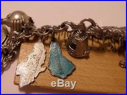 Vintage Sterling Silver Elco Charm Bracelet & 18 Charms Jamaica, Plane & More