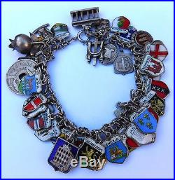 Vintage Sterling Silver Enamel European Travel 48 Charm Bracelet 68g