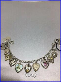 Vintage Sterling Silver Enamel Puffy Heart Charm Bracelet
