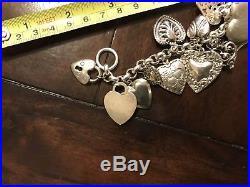 Vintage Sterling Silver Heart Charm Bracelet