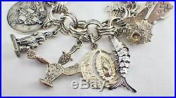 Vintage Sterling Silver Loaded 30 Travel & Personal Charm Bracelet 100.8 Grams