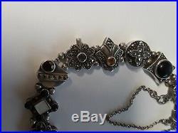 Vintage Sterling Silver Marcasite Gem Slide Charm Bracelet Amethyst Garnet MOP