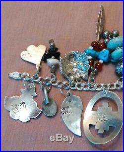 Vintage Sterling Silver Native American Southwestern Charm Bracelet Turquoise