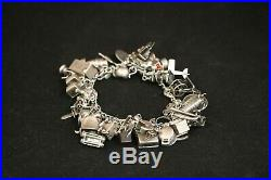 Vintage Sterling Silver Opening Moving Articulated 1940s 48 Charm Bracelet 69.6G