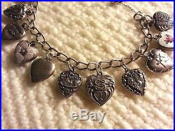 Vintage Sterling Silver PUFFY HEART Charm Bracelet & 14 Charms, 7.50, Repousse