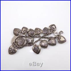 Vintage Sterling Silver Puffy Heart Charm Antique Chain Link Bracelet 7 LDE17