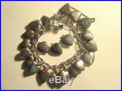 Vintage Sterling Silver Puffy Heart Charm Bracelet -20 charms