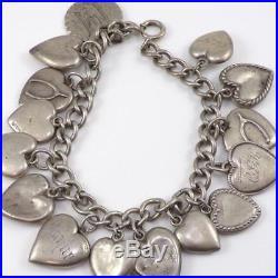 Vintage Sterling Silver Puffy Heart Loaded Charm Enamel Bracelet 6.5 LDL10