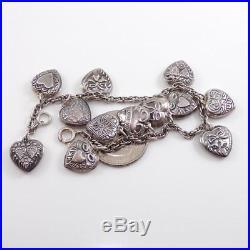 Vintage Sterling Silver Puffy Heart Love Dangle Charm Bracelet 6.75 LDA17