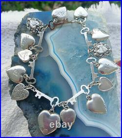 Vintage Sterling Silver Walter Lampl Puffy Heart Key Link Charm Bracelet