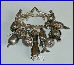 Vintage Sterling Silver Wood Figa Penca De Balangandan Good Luck Charm Brooch