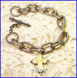 Vintage Sterling Silver and 22 K Gold Konstantino Crucifix Charm Bracelet