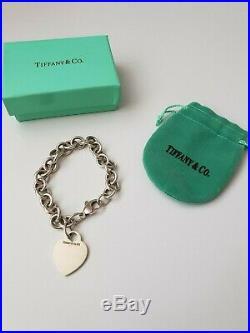 Vintage Tiffany & Co Sterling Silver Heart Tag Charm Bracelet Fully Hallmarked