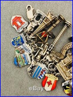 Vintage Travel Europe & USA Sterling Silver 925 Enamel (39) Charm Bracelet