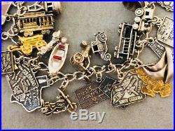 Vintage Travel Road Trip States USA Sterling Silver 925 Charm Bracelet Enamel