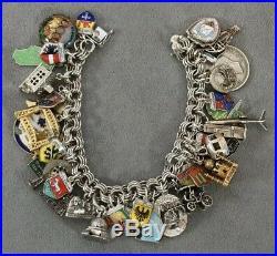 Vintage Travel USA Foreign Sterling 925 Silver (41) Charm Bracelet Enamel 110+G