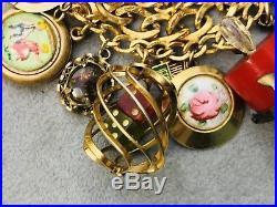 Vintage Victorian Gold Filled Sterling Silver (27) Bakelite Charm Bracelet 104G